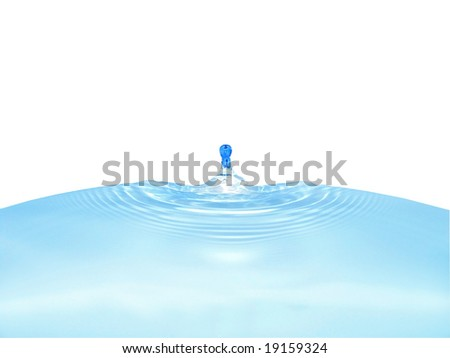 Close-up frozen water drop with ripples around - stock photo