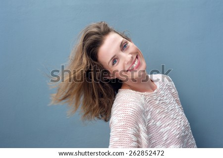 Close up fun portrait of an excited beautiful woman smiling  - stock photo