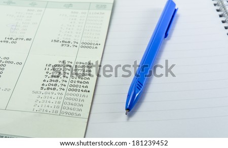 close up general thailand book bank and blue pen with white note book - stock photo