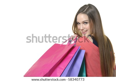 close up girl with shopping bag - stock photo