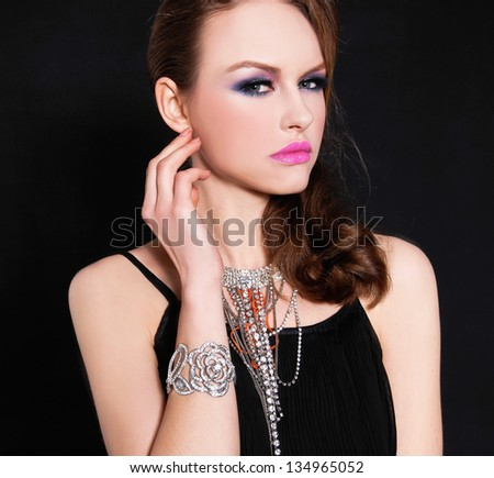 Close up glamour girl with bright make-up-and bracelet , Jewelry - stock photo