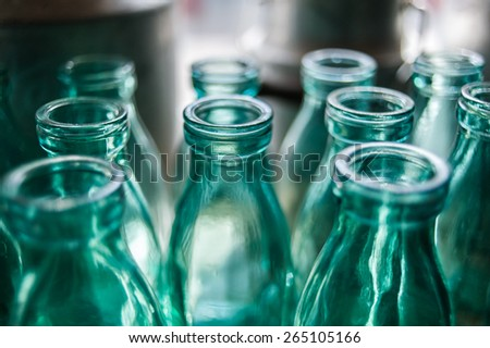 Close up glass bottle - stock photo