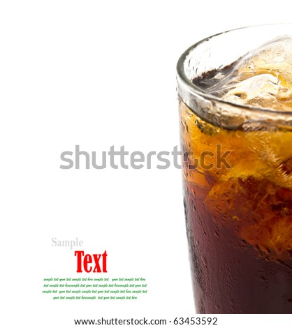 Close Up Glass of cola with ice. Isolated on white background - stock photo