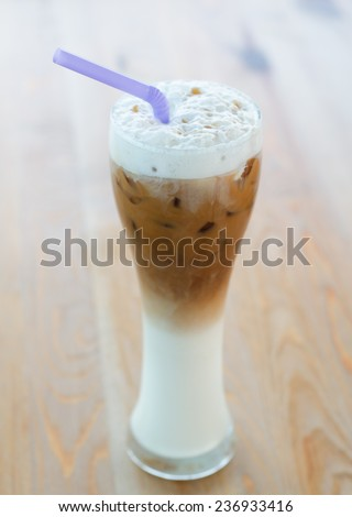 Close up glass of ice coffee