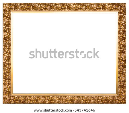 close up golden wood photo image frame isolated on white background with clipping path