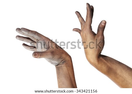 close-up graceful girls hands performing a yoga practice on white background studio