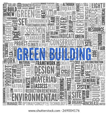 Close up GREEN BUILDING Text at the Center of Word Tag Cloud on White Background.