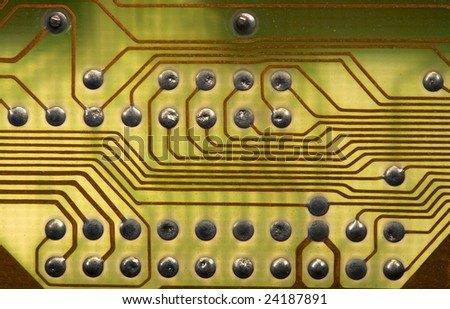 Close-up green circuitboard background in hi-tech style