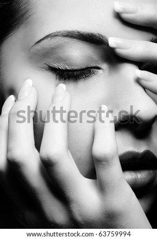 close-up half-face portrait of beautiful girl - stock photo