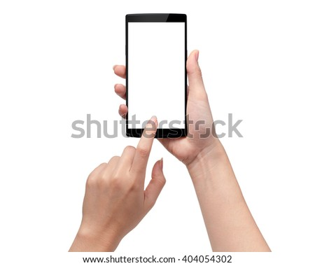 Close-up hand hold smartphone white mobile, This has clipping path. - stock photo