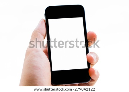 Close-up hand holding smart phone isolated on white background - stock photo