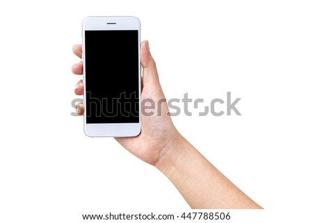 close-up hand holding smartphone blank screen for text and content - stock photo