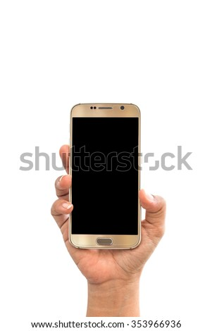 Close up hand of woman holding smartphone isolated on white background - stock photo