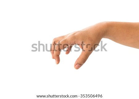 Close up hand of woman isolated on white background