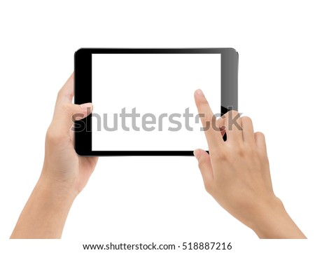 close-up hand using tablet isolated on white clipping path inside, mock-up digital black tablet