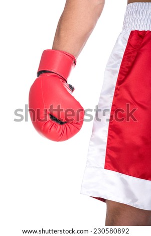 Close-up hand with a punching mitt, on the white background.