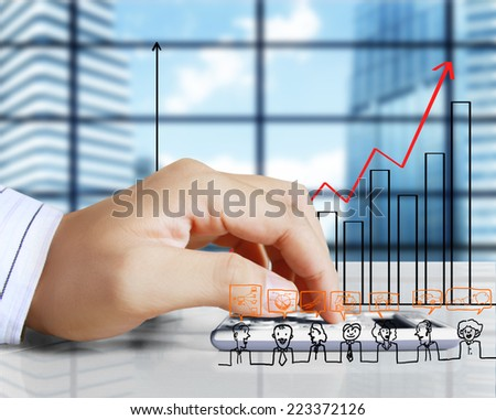 Close Up handwriting and counting on calculator in office - stock photo