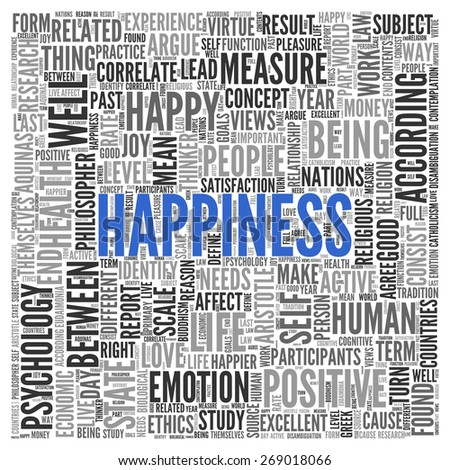 Close up HAPPINESS Text at the Center of Word Tag Cloud on White Background. - stock photo