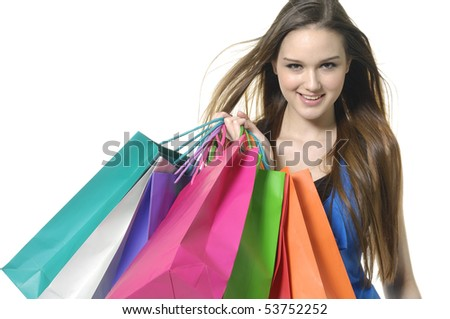 Close up happy shopping girl - stock photo