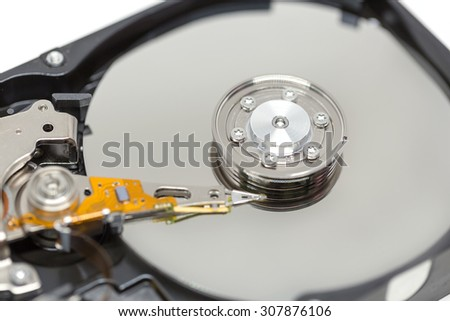 Close up Harddrive (HDD) soft focus - stock photo