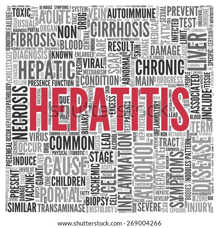 Close up HEPATITIS Text at the Center of Word Tag Cloud on White Background. - stock photo