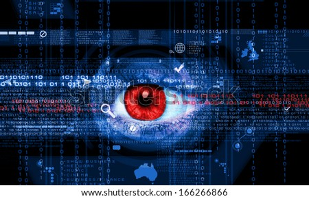 Close-up high-tech image of human eye. Technology concept - stock photo