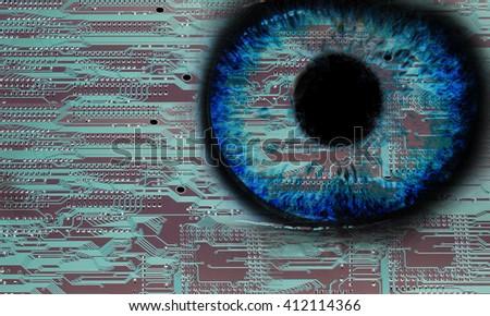 Close-up high-tech image of human eye. Technology concept - stock photo