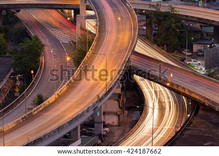 Close up Highway Interconnection, long exposure  - stock photo