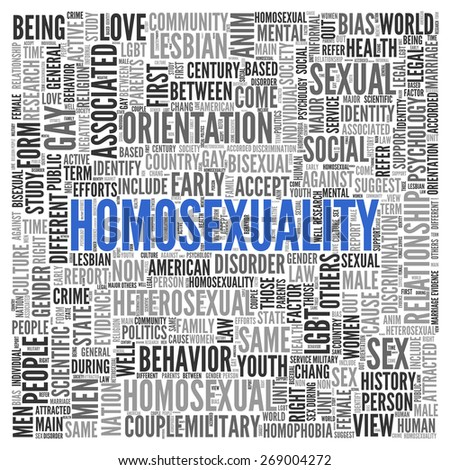 Close up HOMOSEXUALITY Text at the Center of Word Tag Cloud on White Background.