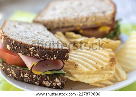 close up horizontal image of a whole wheat sandwich with meat and tomato on a plate with potato chips. - stock photo