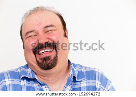 Close-up horizontal portrait of a cheerful middle-aged Caucasian man laughing loud, isolated on white background - stock photo