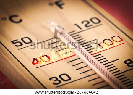 Close-up Hot temperature fahrenheit or celsius. - stock photo
