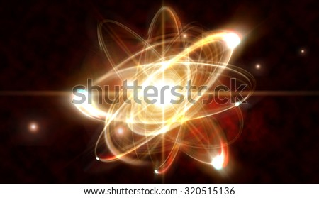 Close up illustration of atomic particle for nuclear energy imagery - stock photo