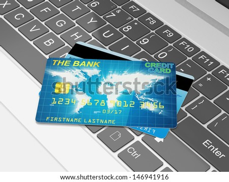 Close-up illustration of Modern Laptop and Credit Cards. Business finance and e-commerce concept