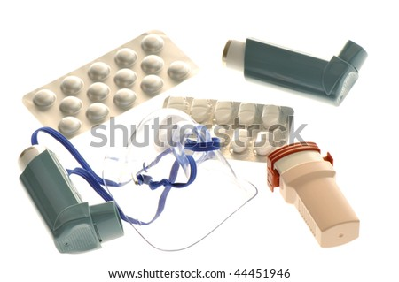 Close up image asthma treatment medicine. White background studio picture. - stock photo