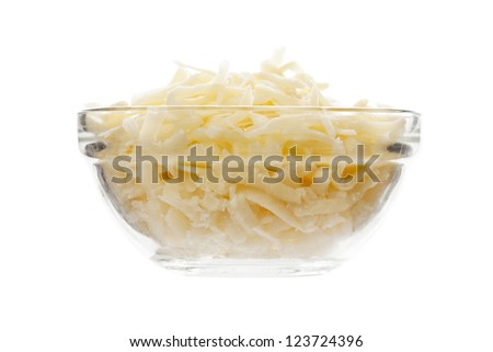 Close up image mozzarella cheese on bowl against white background - stock photo