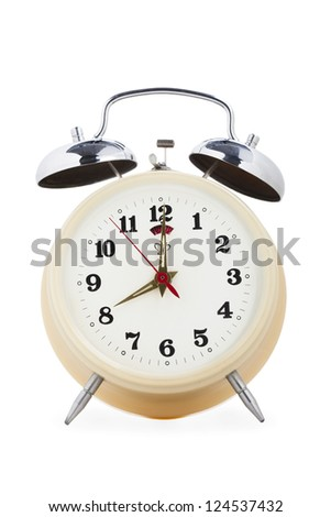 Close-up image of a alarm clock isolated on white. - stock photo