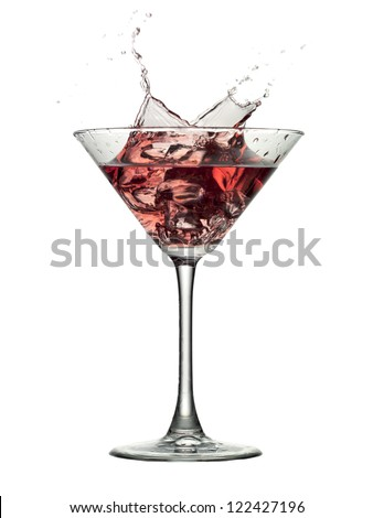 Close-up image of a cocktail drink with splash isolated in a white background - stock photo