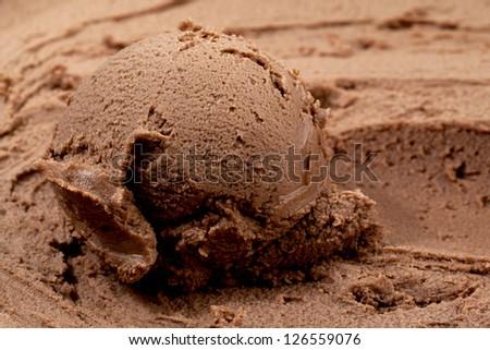 Close-up image of a creamy chocolate ice cream - stock photo
