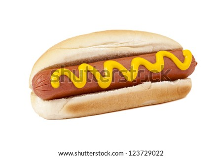 Close-up image of a hotdog sandwich with yellow mustard sauce on a white background - stock photo