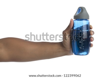 Close-up image of a human hand holding a blue jar with water isolated on a white background - stock photo