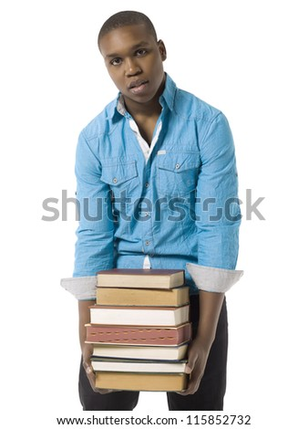 Close-up image of a male student holding books isolated on a white surface