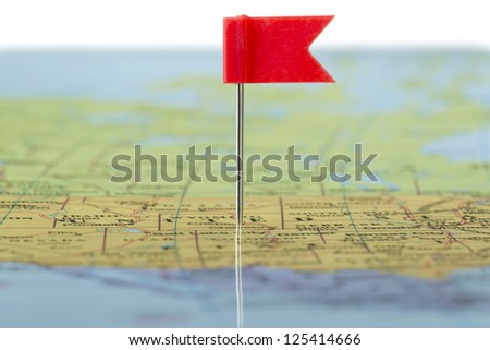 Close up image of a pinned map - stock photo