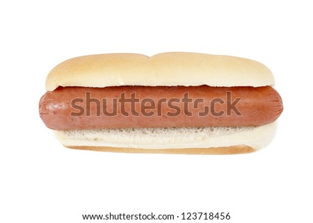 Close-up image of a plain hotdog sandwich in the white background - stock photo