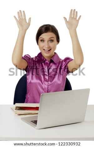 Close-up image of a surprised businesswoman raising her hands against the white background