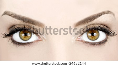 Close-up image of a woman's beautiful eyes - stock photo