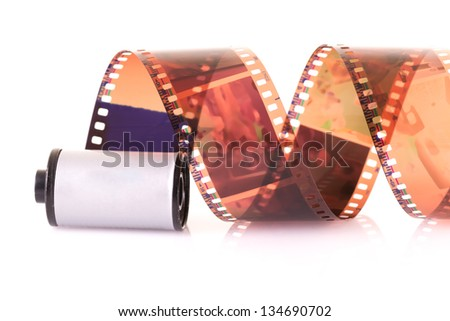 Close up image of an old 35 mm negative film strip. - stock photo