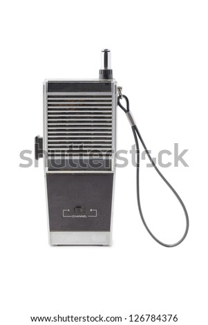 Close-up image of an old two way radio against the white background - stock photo