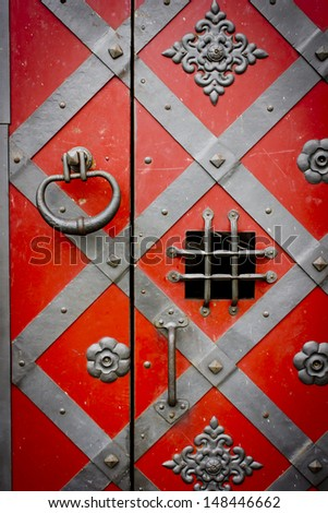 close-up image of ancient doors/ - stock photo