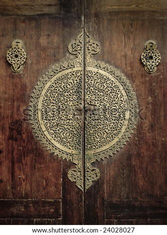 close-up image of ancient doors - stock photo